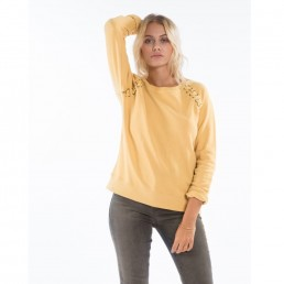 Womens crew neck sweatshirt gold