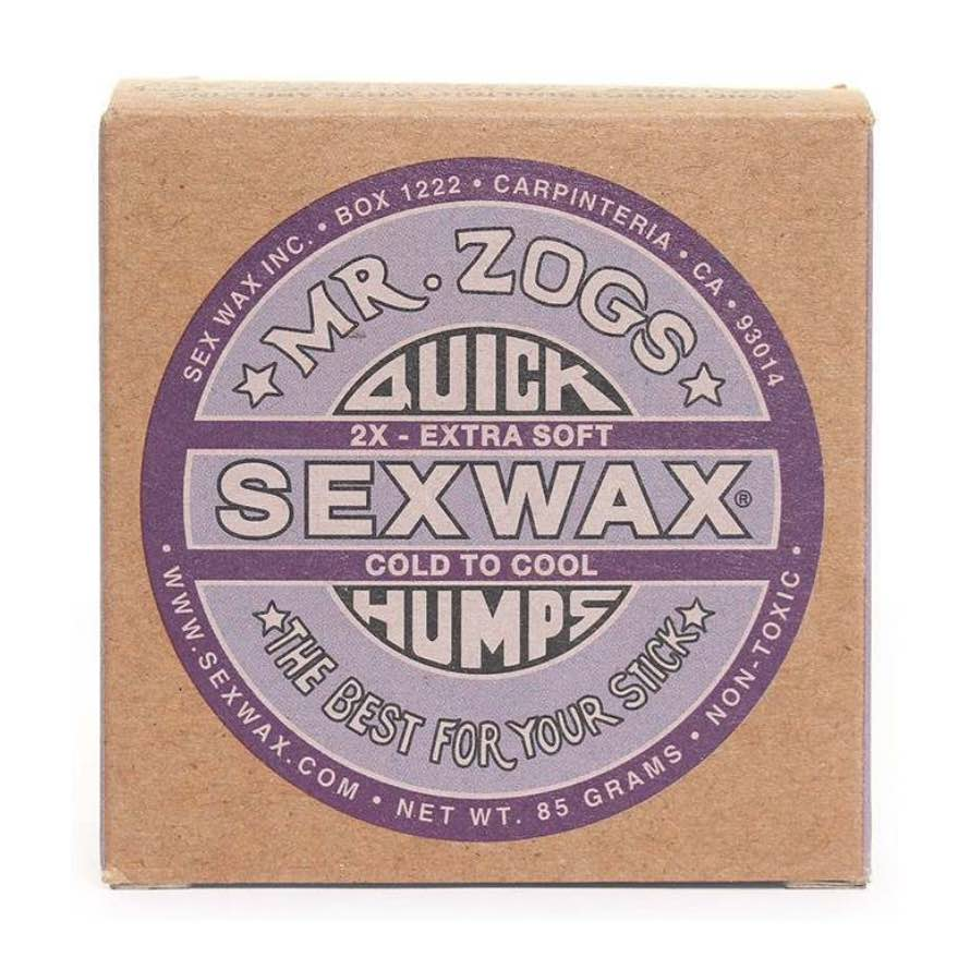 Sex Wax Quick Humps Cold to Cool Purple. Plastic free recyclable packaging cardboard box. Cold water surfing Shanklin Freshwater Compton Isle of Wight, UK Earth Wind Water surf gifts surfing present cheap deal