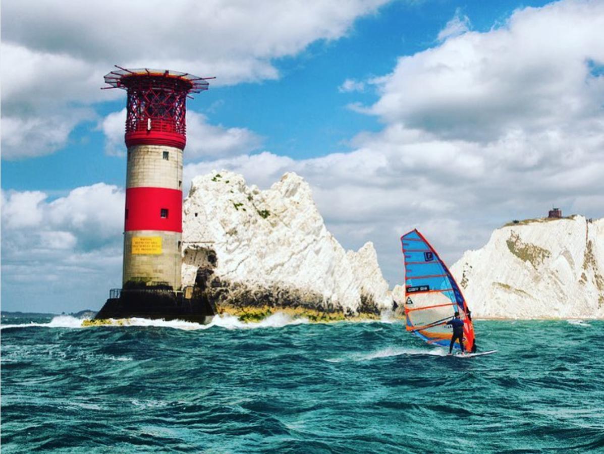 The needles iow windsurfing windsurf ross williams round the island