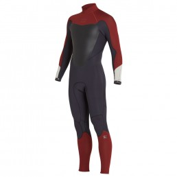 Billabong Absolute 32 back zip wetsuit biking red