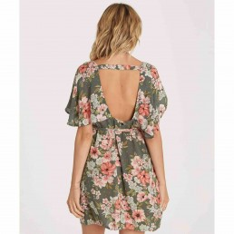 Billabong fine flutter dress floral green v back backless summer sale surfer surf