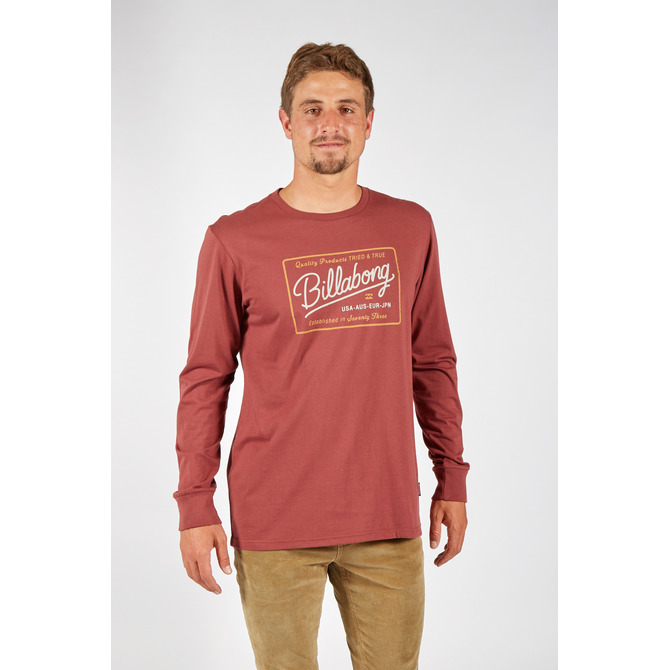 tee t-shirt t shirt long sleeve sleeves sleeved billabong logo stamp surf surfer red black
