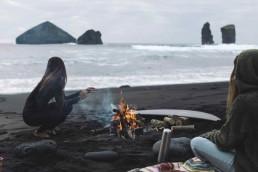 surf trip surfer girl boy surfing winter beach fire camping cool friends mates