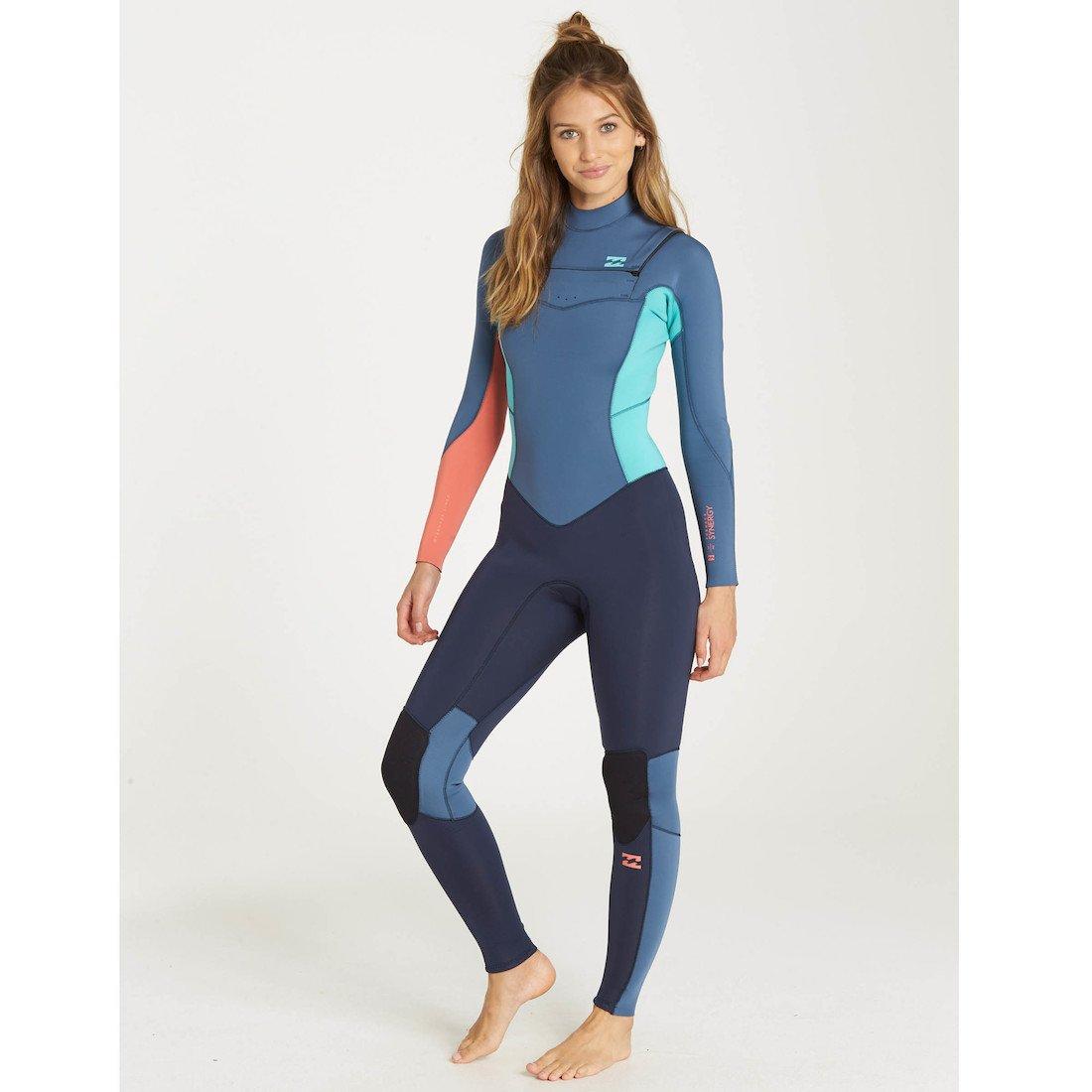 12e581178e billabong slate blue chest zip Ladies womens girls winter wetsuit surf  surfing 5 4 5