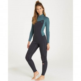 new billabong 2018 2019 womens ladies girls winter wetsuit green teal sugar pine cool warm thermal fleece furnace 5/4 54 mm