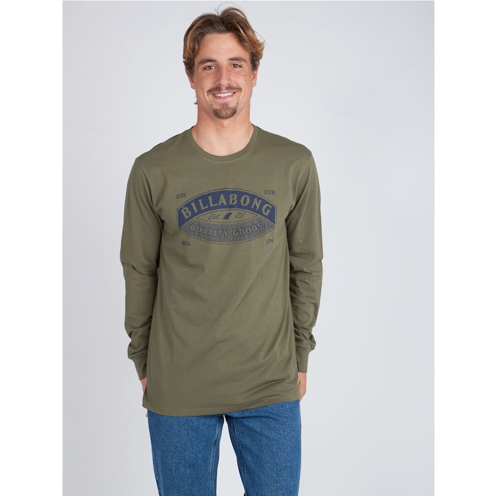 Black Friday sale long sleeve sleeved tee t-shirt t-shirt top green military army new billabong winter sale