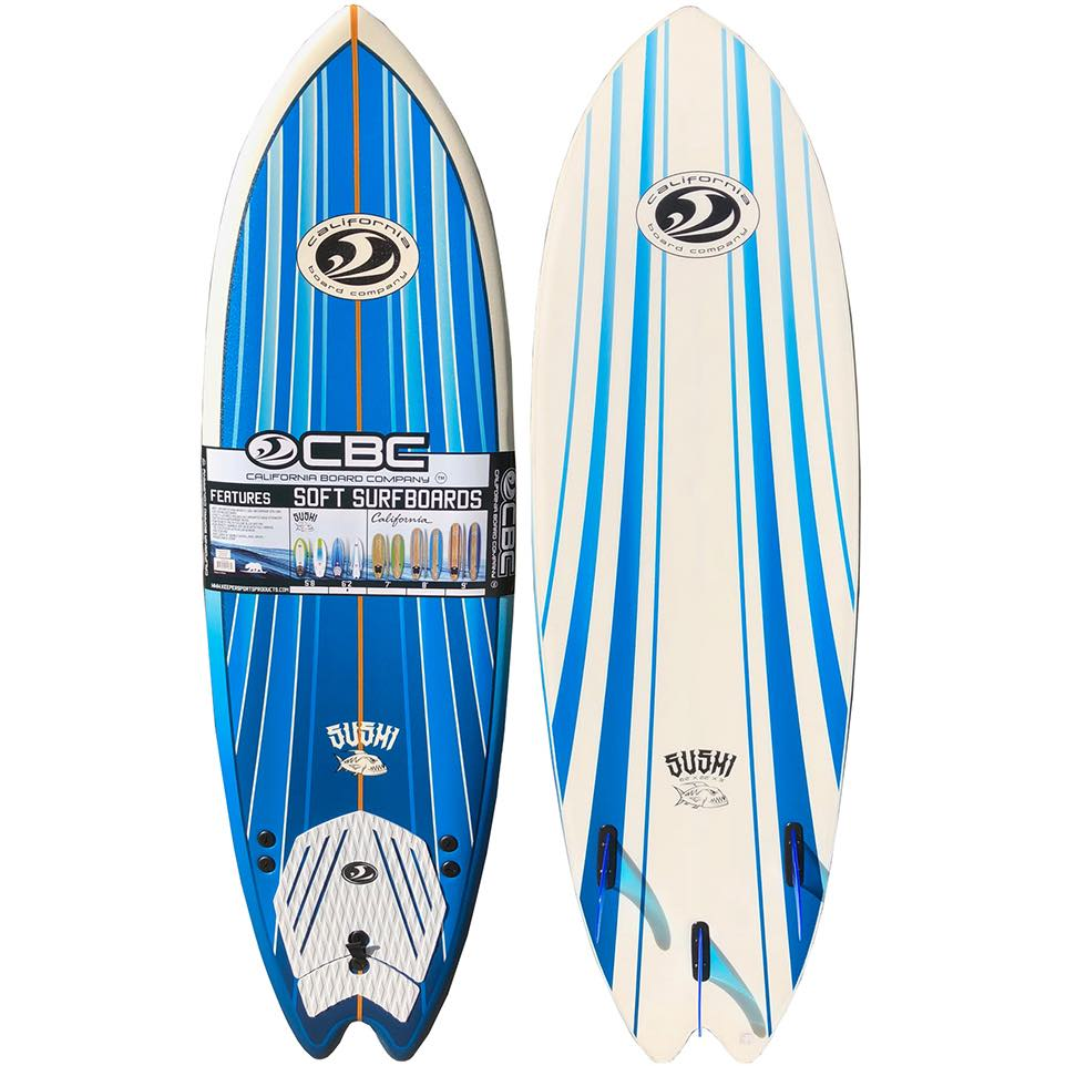 soft foam foamie foamy from learn to surf surfboard CBC California board company co 6'2 blue white thruster iow isle of wight Shanklin uk deal best best to learn