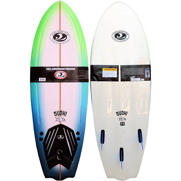 CBC California Board Company Soft Foam Surfboard. Beginner progressional fish softboard. Learn to surf Isle of Wight UK. Foamy Foamie for kids teenagers Earth Wind Water Shanklin isurf tapnell adventure