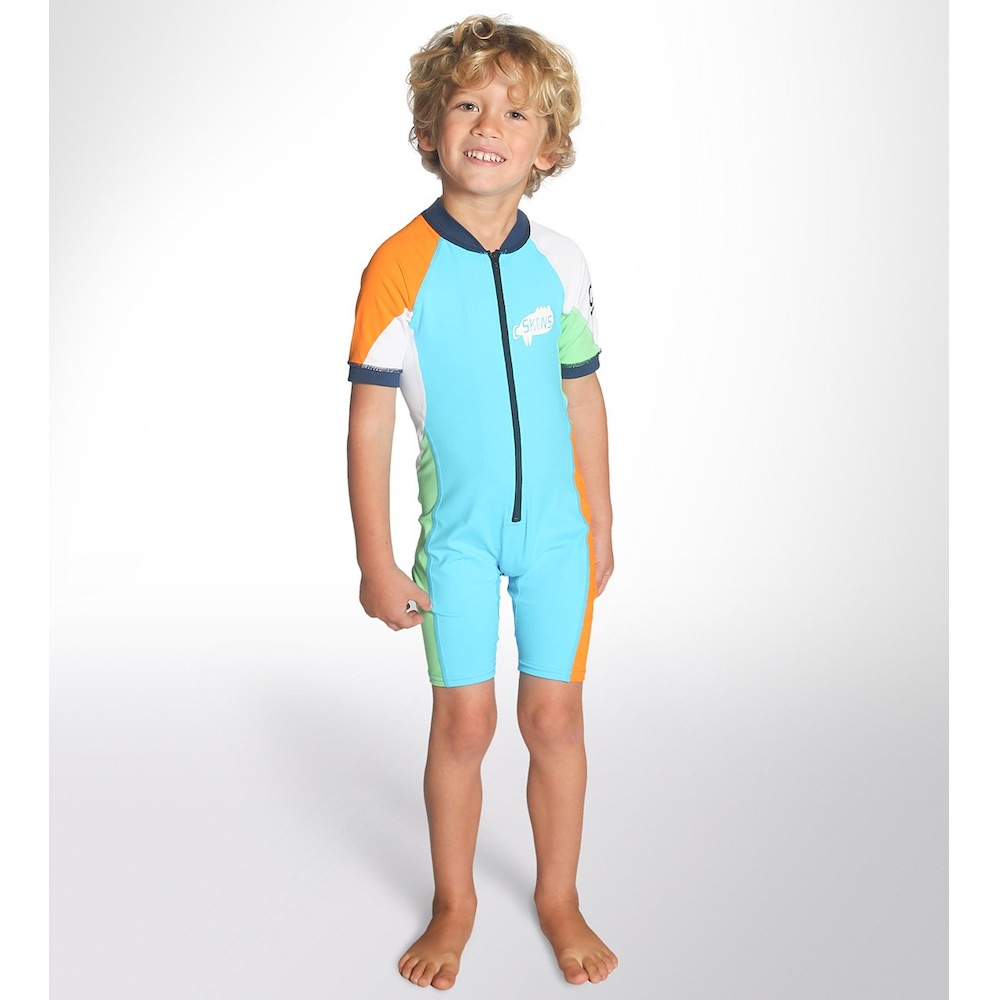 UPF 50+ Protection. Breathable premium quality lycra. Xtend 4-way stretch fabric. Performance driven minimal panel design. Ultimate comfort and fit. sun safe suit sunsuit uv upf 50+ protection cskins kids childs childrens beach wear blue orange zip front isle of wight holiday shanklin beach sandown ryde ventnor