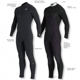 Billabong Furnace Comp Mens Womens Graphene + liner. Cold water performance winter wetsuit. Isle of Wight surf UK