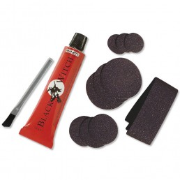Black Witch Neoprene Repair Kit. Glue patches and brush for wetsuit rips tears or holes.