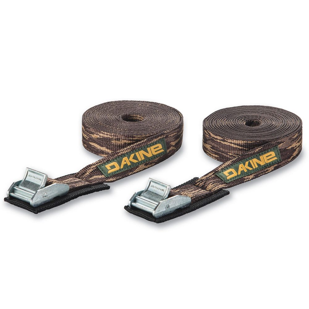Dakine Tie Down Straps 12ft with cam lock. Black yellow green cannery camo brown Surfboard kayak accessories must have makes strapping on to car roof rack quick easy secure safe