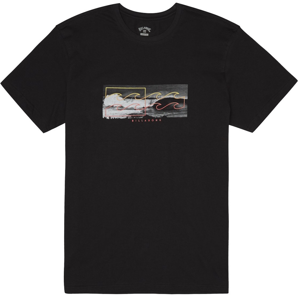Billabong heritage surf photography sit side staple logo t-shirt. Inverse logo photo print graphic printed in soft hand ink screen print core fit cotton boy's short sleeve t-shirt