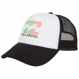 Billabong Trucker Cap white black. Kids boys girls. Wave Logo, Mesh, Adjustable Snap Back