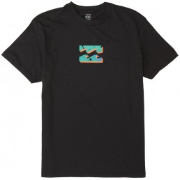 Billabong black tshirt front and back wave print. Surf gear Isle of Wight. Earth Wind Water. Surfing on the south coast. Learn to surf, hire, buy, lessons, clothes, boards, wetsuits IOW
