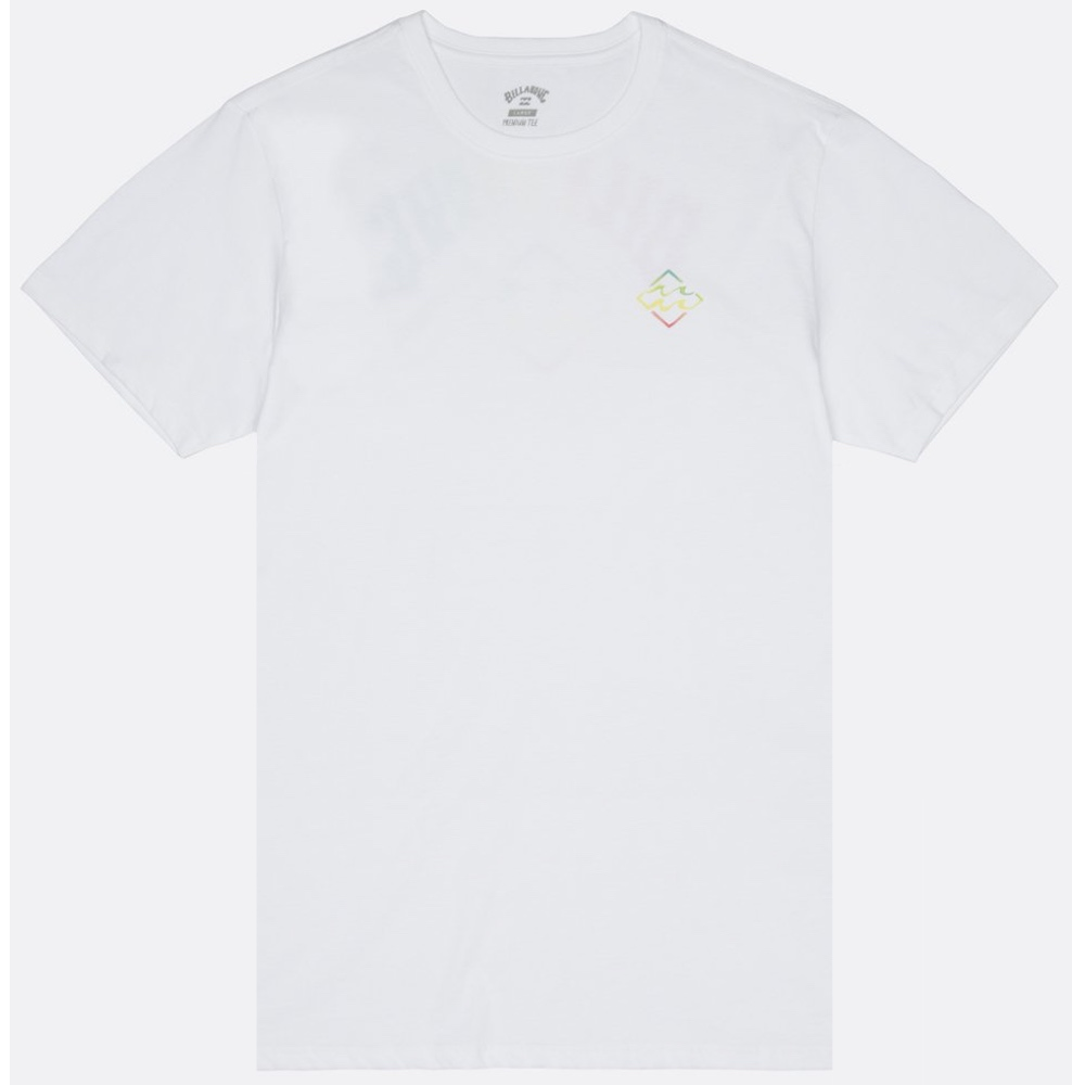 Billabong white rainbow tshirt front and back wave print. Surf gear Isle of Wight. Earth Wind Water. Surfing on the south coast. Learn to surf, hire, buy, lessons, clothes, boards, wetsuits IOW