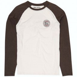 Billabong Dana Point Long Sleeved Tshirt with retro contrast raglan sleeves. Grey Off White. Surf clothes at Earth Wind Water Isle of Wight