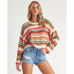 Billabong Womens Easy Going Striped Jumper cropped knitted oversize boyfit baggy arms surf surfer girl summer beach crew