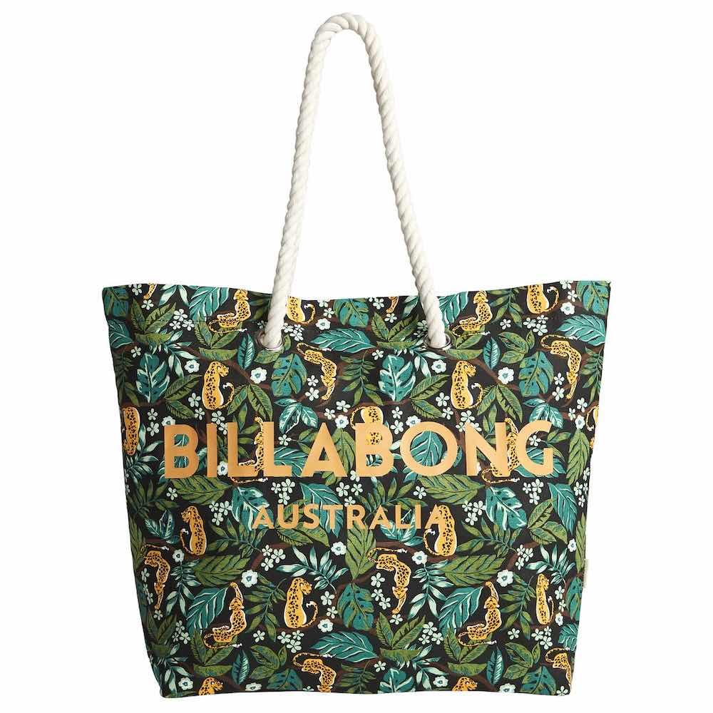 Billabong Essential Tote. Rope handles, cotton canvas beach bag. Blue pink yellow green