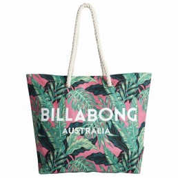Billabong Essential Tote. Rope handles, cotton canvas beach bag. Blue pink yellow green
