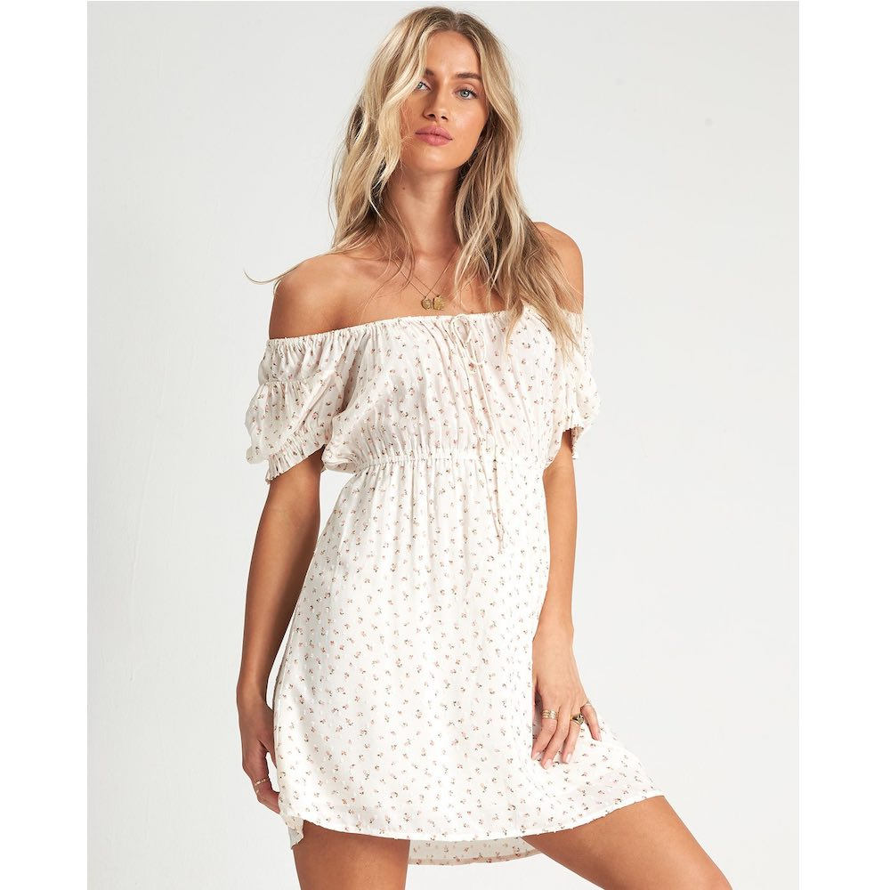 Billabong Fall For Love Fine Flutter pretty summer dress girly feminine off the shoulder white cream surf trip isle of wight