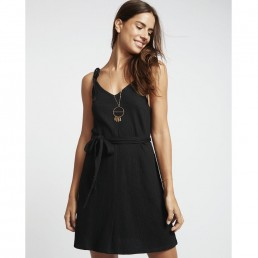 Billabong Going Steady Dress Black Henna tie straps belt stretch woven flattering boho smart casual pretty spring summer holiday beach dinner date v neck young fun