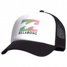 Billabong Podium Trucker Cap white black. Kids boys girls. Wave Logo, Mesh, Adjustable Snap Back