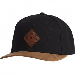 Billabong Mixed Snapback black brown contrast peak, leather logo badge, adjustable snap back closure. Earth Wind Water Isle of Wight Surf Shop