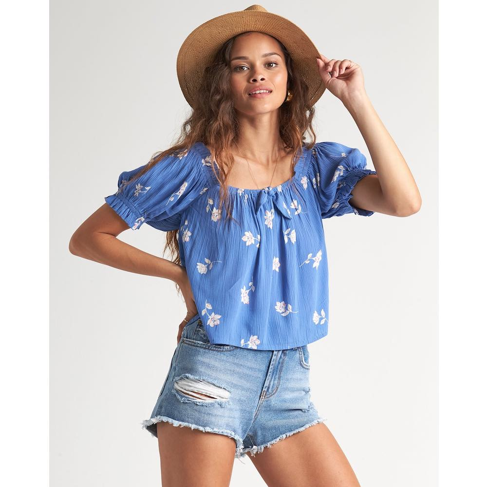 Billabong Perfectly Puff Top off the shoulder floral costa blue and white cropped beach clothes summer lightweight holiday