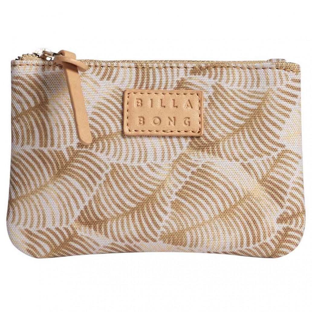 Billabong planet palm gold palm leaf womens purse small case wallet zip