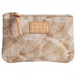 Billabong planet palm gold palm leaf womens purse small case wallet zip