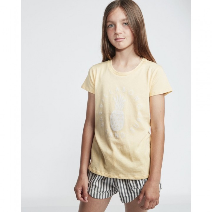 Billabong Sand and Surf Tshirt canary yellow pineapple print surfer girl summer tee holiday beach birthday boy fit