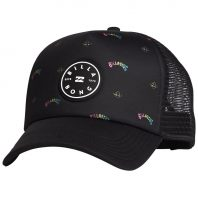 Billabong Scope Trucker. Black logo print mesh panels adjustable snap back. Mens womens kids. Rainbow colourful retro new circle