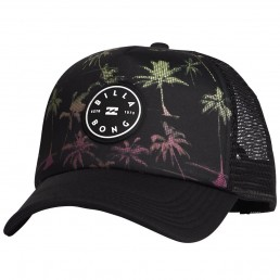 Billabong Scope Trucker. Black Neon logo print mesh panels adjustable snap back. Mens womens boys kids. Rainbow palm trees retro new