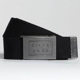 Billabong Sergeant Webbing Belt in Black. Embossed metal logo buckle
