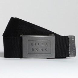 Billabong Sergeant Webbing Belt in Black. Embossed metal logo buckle
