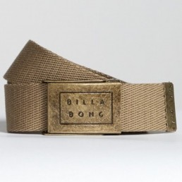 Billabong Sergeant Webbing Belt in Khaki Sand. Embossed metal logo buckle