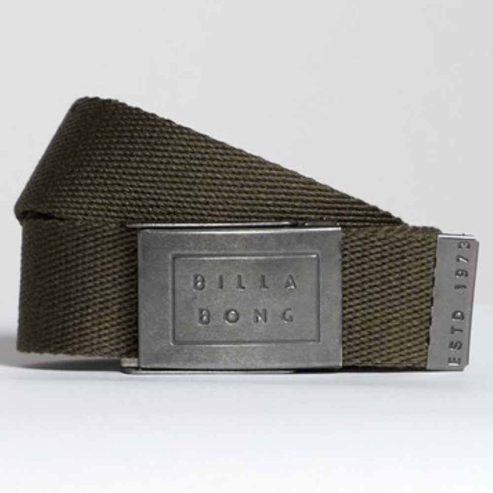 Billabong Sergeant Webbing Belt in Military green. Embossed metal logo buckle