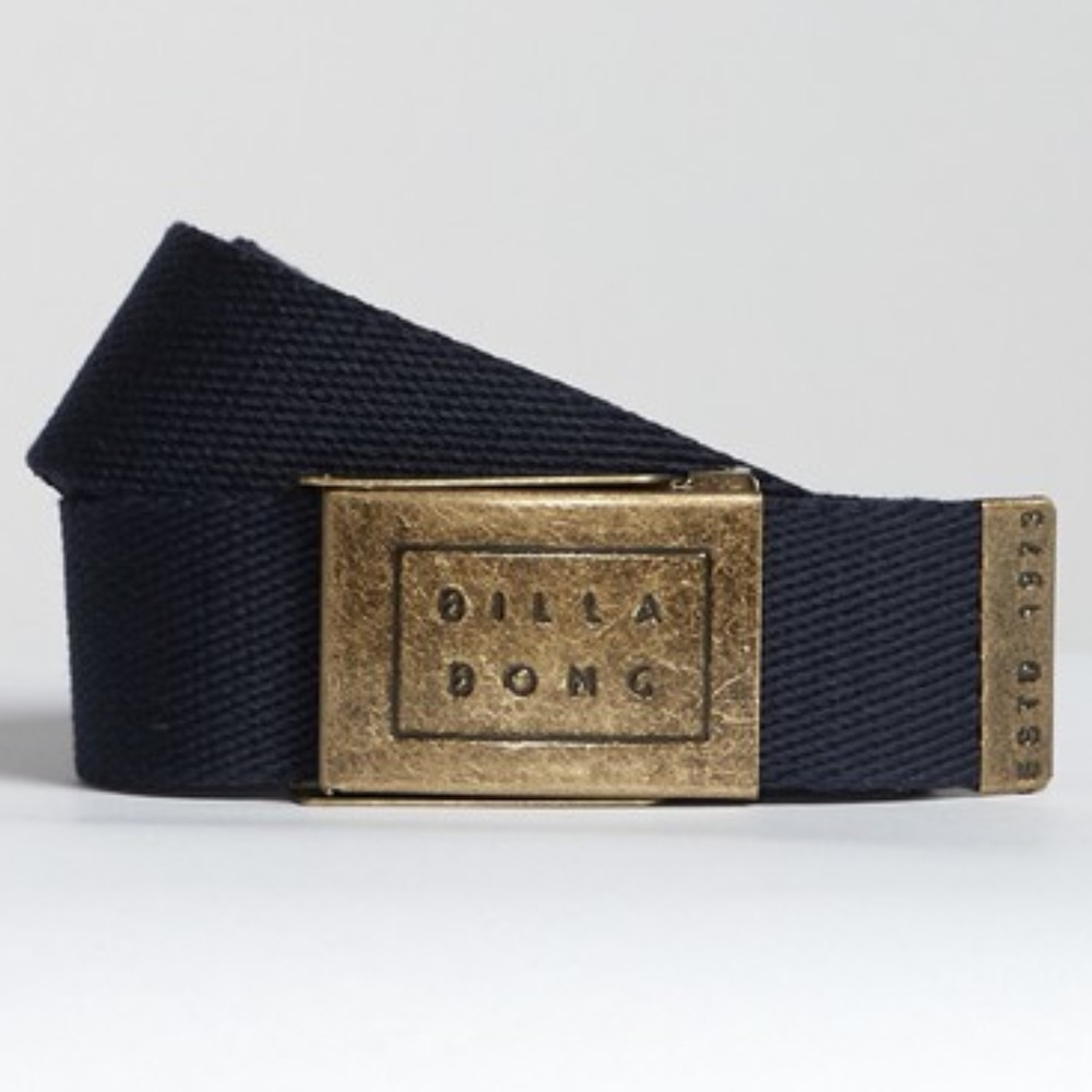 Billabong Sergeant Webbing Belt in Navy blue. Embossed metal logo buckle