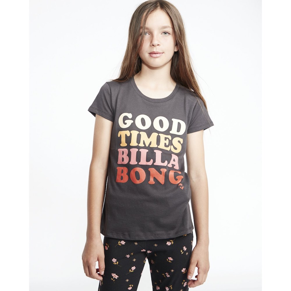 Billabong Good Times So Much Love Tshirt girls boy fit tee black grey pink red kids junior grom birthday surfer girl