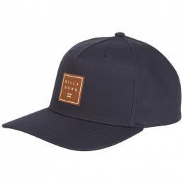 Billabong Stacked Snapback Cap Navy blue with suede logo patch centre front. Twill cotton adjustable snap back close