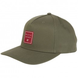 Billabong Stacked Snapback Cap Olive green with suede logo patch centre front. Twill cotton adjustable snap back close. Earth Wind Water Surf Shop Isle of Wight UK