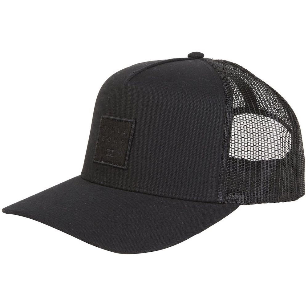 Billabong Stacked Trucker Cap Black, embroidered logo patch centre front. cotton twill, mesh back, adjustable snap back closure. Earth Wind Water Surf Shop IOW UK