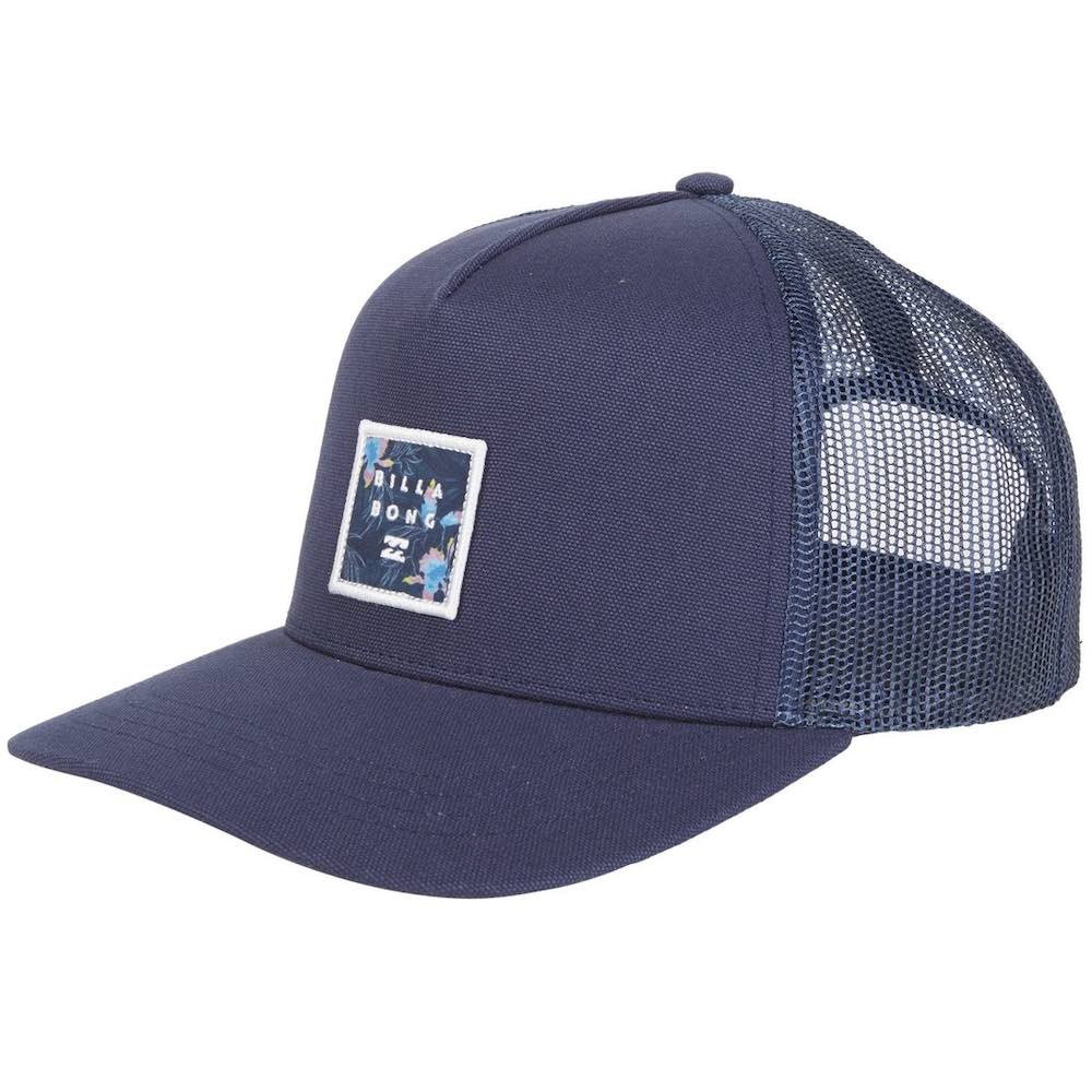 Billabong Stacked Trucker Cap Indigo navy blue, embroidered logo patch centre front. cotton twill, adjustable snap back close. Earth Wind Water Surf Shop Isle of Wight UK