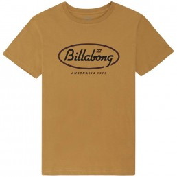 Billabong State Tee Australia 73. Gold mustard yellow retro print