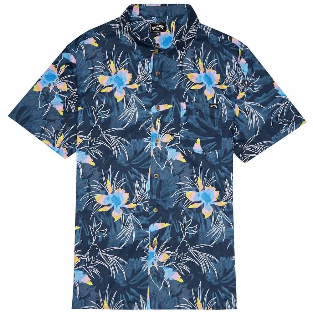 Billabong Sundays Floral Shirt Navy Blue Floral Hawaiian Flowers