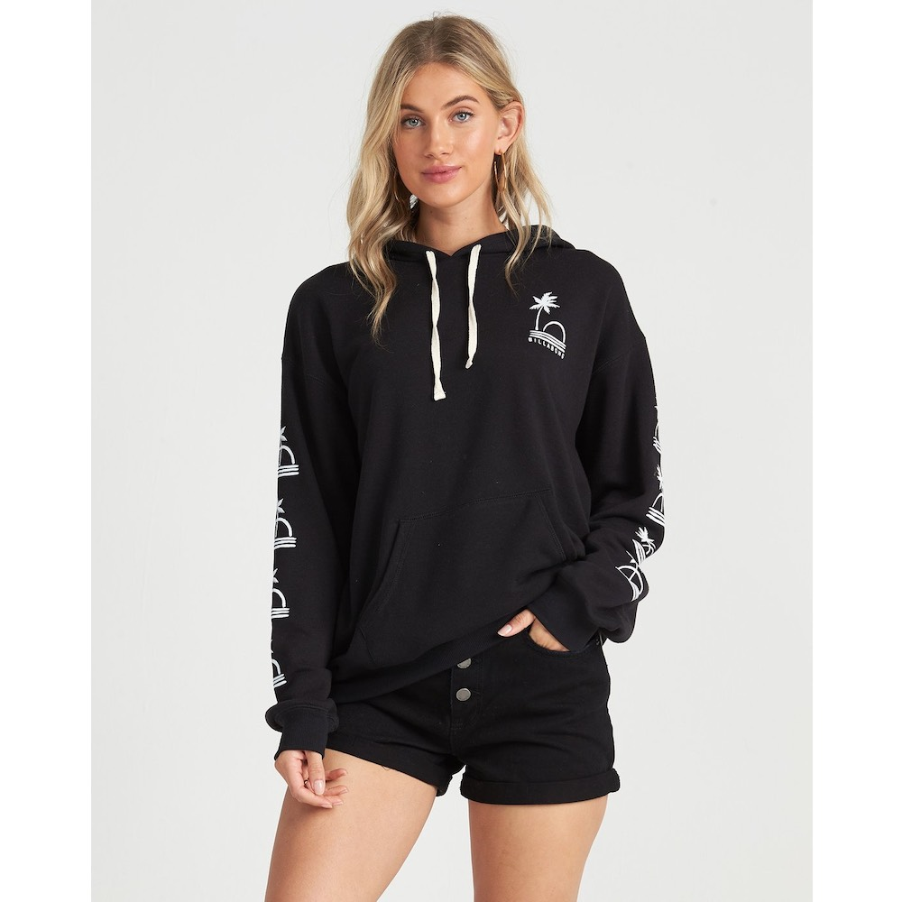 Billabong Vacation Days Hoodie Fleece Black. Palm print oversize womens girls hoody. Surf beach clothes Earth Wind Water Isle of Wight