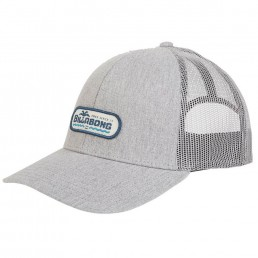 Billabong Walled Trucker Cap Heather Grey Silver with mesh panel, adjustable snap back, blue logo. Earth Wind Water Surf Shop Isle of Wight UK
