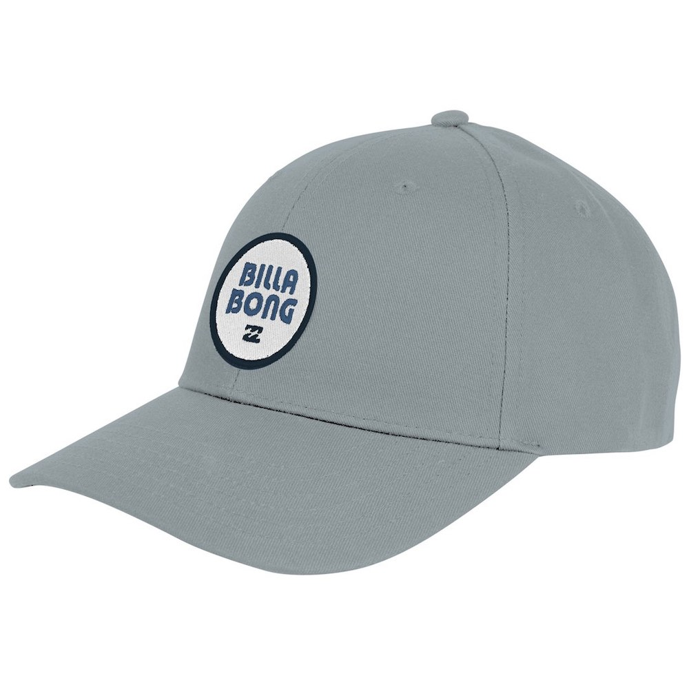 Billabong Walled SnapBack Cap Coastal with centre logo patch. Blue grey hat with brim. Adjustable snap back closure. Earth Wind Water Surf Shop Isle of Wight UK