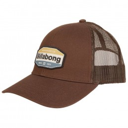 Billabong Walled Trucker Cap Brown with mesh panel, adjustable snap back, blue yellow logo. Earth Wind Water Surf Shop Isle of Wight UK